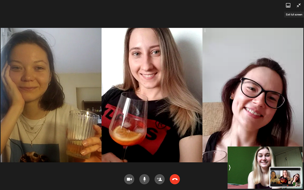 virtual happy hour on hangouts is a great way of staying connected socially while stuck at home