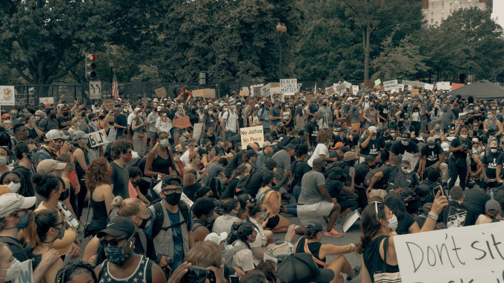 black lives matter protest show up protesters protesting for BLM
